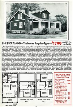 Gabled Dormer - Portland - Craftsman Style Bungalow - 1931 Aladdin Kit Home Craftsman Bungalow Exterior, Craftsman Bungalows, House Plans With Pictures, Cottages And Bungalows, Vintage House Plans, Kit Homes, Building Plans, Historic Homes, Old Houses
