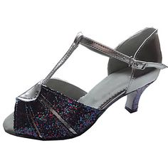 Customized Women's Sparking Glitter And Leatherette Dance Shoes For Latin/Ballroom Sandals – USD $ 44.99