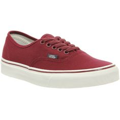 Vans Authentic ($39) ❤ liked on Polyvore featuring shoes, sneakers, vans, trainers, unisex sports, vintage maroon, sports footwear, vans trainers, maroon shoes and sports trainer