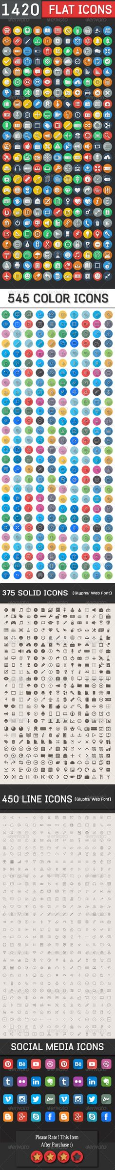 1420 Flat Icons - Colorful Icons Set http://gum.co/ddm9 #socialmediaicons #blogger #wordpress