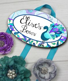 Look at this #zulilyfind! Peacock Personalized Hair Bow Holder by Toad and Lily #zulilyfinds