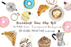 Watercolor Breakfast Food ClipArt Collection - Pinted by hand, Croissant coffee capuccino doughnuts donut cafe instant download digital file by MaraquelaStudio on Etsy
