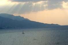 Beautiful sunset in Samos, Greece.