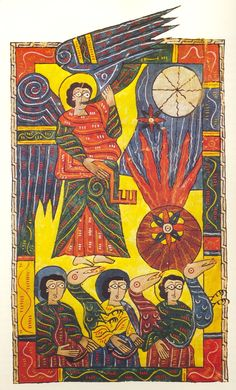 """The Escorial Beatus is a 10th century illuminated manuscript of the Commentary on the Apocalypse by Beatus of Liébana"":"