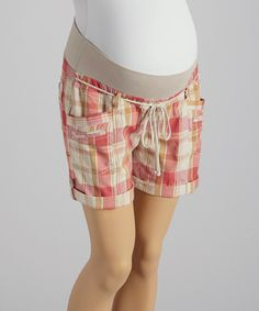 Look at this Oh! Mamma Coral Plaid Under-Belly Maternity Shorts - Women on #zulily today!