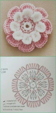Watch The Video Splendid Crochet a Puff Flower Ideas. Phenomenal Crochet a Puff Flower Ideas. Crochet Diagram, Crochet Chart, Love Crochet, Crochet Motif, Diy Crochet, Crochet Stitches, Crochet Flower Tutorial, Crochet Flower Patterns, Crochet Flowers