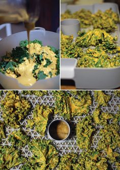 Cheesy Kale Chips (cashew nuts, red bell pepper, nutritional yeast, olive oil, lemon juice, onion powder, garlic powder)