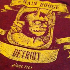 Le Nain Rouge Detroit TShirt Gold on Cranberry  New by citybird, $24.00