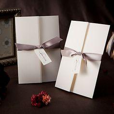 disegno semplice tri-folded inviti matrimonio con il grigio nastro (set di 50) - EUR € 41.24