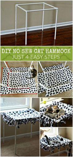 DIY No Sew Cat Hammock Tutorial in 4 Steps