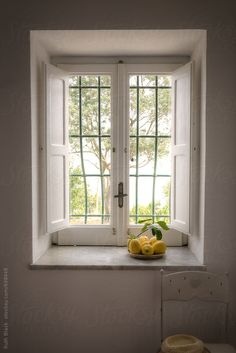 Mediterranean window with lemons by Ruth Black - Stocksy United Cottage Shutters, Interior Window Shutters, Interior Windows, Diy Interior, Best Interior, Interior Design, Interior Paint, Luxury Interior, Grill Design