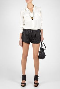 daphne leather shorts; iro