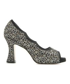 Take a look at this Black Floral Margaux Peep-Toe Pump by MARCHEZ VOUS YS on #zulily today!