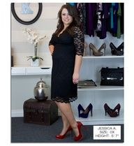 Real Curves Cutie, Jessica A. takes a classic lace LBD and vamps it up with red patent heels and an in your face cocktail ring. BAM!