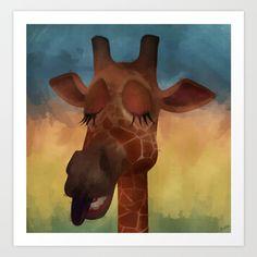 Sleeping Giraffe Art Print by Texnotropio Giraffe Art, Giraffes, Art For Kids, Sleep, Art Prints, Artwork, Painting, Children, Art For Toddlers