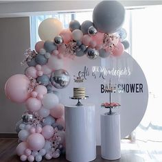 How amazing is this installation for a fabulous baby shower 🌸✨😍😘 Share your thoughts below in the comment box section 💁🏻‍♀️ For bookings… Baby Girl Shower Themes, Girl Baby Shower Decorations, Birthday Balloon Decorations, Birthday Balloons, Birthday Parties, Gold Party Decorations, Birthday Cake, Shower Party, Baby Shower Parties