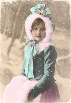 Vintage girl in the snow  colorized