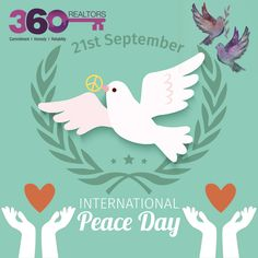 """""""God of peace, bring your peace to our violent world: peace in the hearts of all men and women and peace among the nations of the Earth. Pigeon Logo, Peace Drawing, World Peace Day, International Day Of Peace, What Is Today, September 21, Republic Day, Graphic Design Inspiration, New Pictures"""
