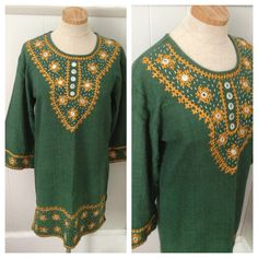 Vintage embroidered India tunic dress by nanapatproject on Etsy, $68.00