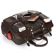 Handmade Vintage Leather Business Travel Bag Messenger Bag - Dark Brown