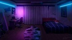 Dorm Layout, Dorm Room Layouts, Scenery Background, Living Room Background, Anime Backgrounds Wallpapers, Animes Wallpapers, Flipagram Instagram, Bedroom Drawing, Neon Bedroom