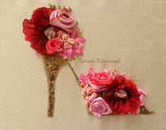 """Small picture """"Flowers shoe"""", Silk ribbon embroidery,roses,flowers, embroidered,wall decor,applicue"""