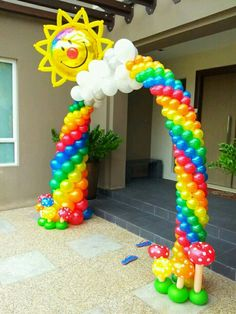 Beautiful balloon arch little pony party Rainbow Parties, Rainbow Birthday Party, Rainbow Theme, 1st Birthday Parties, Rainbow Baby, Rainbow Balloon Arch, Love Balloon, Balloon Ideas, Party Decoration