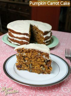 Pumpkin Carrot Cake with Easy Cream cheese Frosting