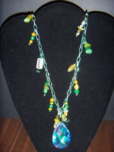 Green with Envy Charmed Necklace by OurBeadedCharms on Etsy, $15.99