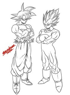 Fotos De Goku Y Vegeta Para Dibujar On Log Wall
