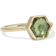 Brooke Gregson Ziggurat 18-karat gold, tourmaline and diamond ring,... (18.320.660 IDR) ❤ liked on Polyvore featuring jewelry, rings, green diamond ring, tourmaline jewelry, 18k diamond ring, diamond jewellery and green diamond jewelry