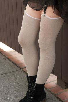 Extraordinary Roll Top Thigh High - A more classic version of our Extraordinary Thigh Highs; these stockings don't have top cuffs, which means they need  a little help staying up , but also makes them far more comfortable than your average tall sock!  Made in the USA.