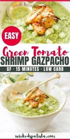 This Paleo Spicy Green Tomato Gazpacho with Grilled Shrimp is the perfect summertime soup! Easy Paleo Dinner Recipes, Paleo Appetizers, Best Gluten Free Recipes, Paleo Meals, Lunch Recipes, Soup Recipes, Keto Recipes, Grilled Shrimp Recipes, Seafood Recipes