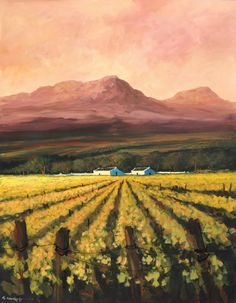 Oil Painting - Cape Winelands at Sunset by Mauro Chiarla, South Africa