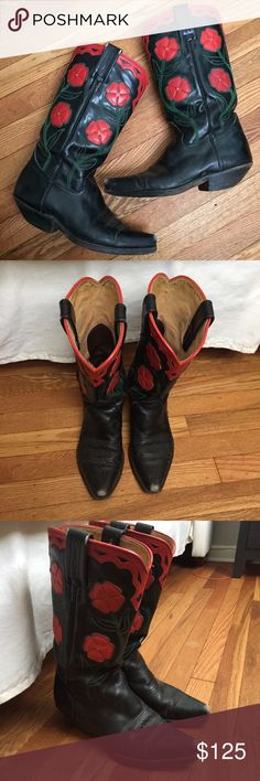 {Tony Mora} Vintage Boots Rare vintage leather cowboy boots, made in Spain by designer Tony Mora. I have never seen another pair like these! They have been well worn and loved; please see pictures. Size 38, fit like a 7 1/2. Tony Mora Shoes Heeled Boots