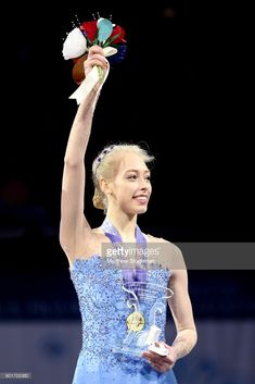 Bradie Tennell celebrates on the medals podium after winning the Championship Ladies during the 2018 Prudential U.S. Figure Skating Championships at the SAP Center on January 5, 2018 in San Jose, California.