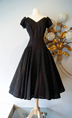Vintage 1950's Black and Red Eyelet Cocktail Dress