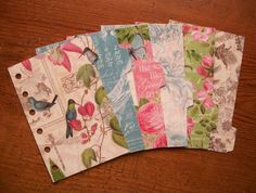 Botanic Garden Pocket Dividers - Birds - Butterflies - Floral - Fits #filofax - laminated