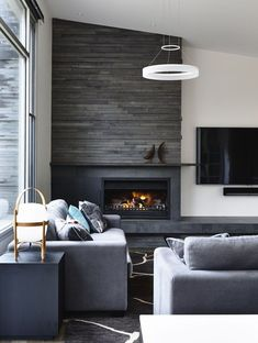 31 Stunning Modern Fireplace Design Ideas - There are many different ideas for creating modern fireplaces. In most instances, the fireplace is considered to be the focal point when it comes to i. Design Living Room, Living Room Grey, Living Room Modern, Living Room Interior, Home Living Room, Living Room Decor, Small Living, Grey Fireplace, Living Room With Fireplace