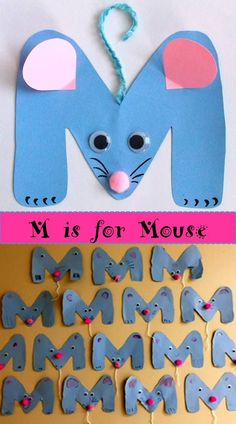 Letter M craft. Cute and easy! You can find the complete set of crafts for the u. - Letter M craft. Cute and easy! You can find the complete set of crafts for the upper case letters i - Preschool Letter Crafts, Alphabet Letter Crafts, Abc Crafts, Mouse Crafts, Preschool Projects, Daycare Crafts, Preschool Activities, Letter Art, Letter Tracing