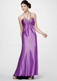 Halter A line Elastic Silk Like Satin Empire Sleeveless Floor Length Prom Dress