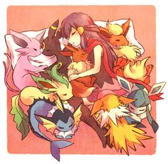 Hikari & Umbreon, Espeon, Leafeon, Vaporeon, Flareon, Jolteon, Glaceon and Eevee ; Unknown Source