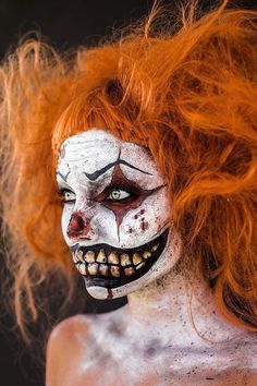 Clowns instantly connote to being creepy, evil and scary. Here are 15 ideas worth a look. #halloween  #scary  #makeup