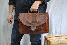 Vintage leather bag , document bag,leather briefcase , men briefcase .... on Etsy, $35.00
