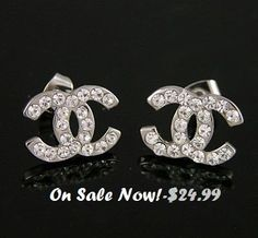 CHANEL+CC+Earrings+Sterling+Silver+Classic+70%+Off