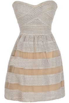 Dolled Up Textured Strapless Dress in Beige  www.lilyboutique.com