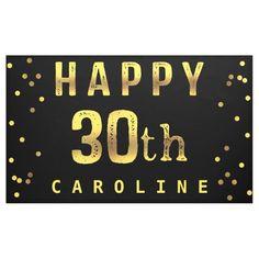 Happy 30th Faux Gold Foil Confetti Black Banner 50th Birthday Balloons, Birthday Wall, Happy Birthday Girls, 30th Birthday Parties, Happy Birthday Banners, 80 Birthday, Black Banner, Disney Frozen Birthday, Happy 30th