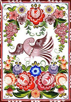 Городецкая роспись.  Яркая, лаконичная роспись (жанровые сцены, фигурки коней, петухов, цветочные узоры), выполненная свободным мазком с белой и черной графической обводкой