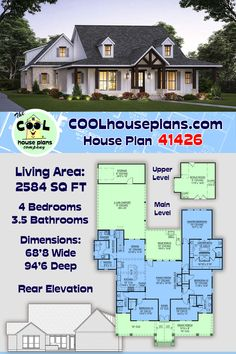 New farmhouse home plan that is sure to be a great selling home design. This country farmhouse plan has a wide covered front porch that wraps both corners. 4 large bedrooms, a family room with 12' ceiling, shared jack and jill bathroom, large kitchen with walk-in pantry, mud room entry from 2 car carport, large rear grilling porch, storage space, and a large bonus room over carport. #farmhouse #farmhouseideas #houseplans #homeplan #countryhome #COOLhouseplans Farmhouse Floor Plans, Farmhouse Homes, Country Farmhouse, New House Plans, Modern House Plans, Porch Storage, Local Builders, House Blueprints, 4 Bedroom House