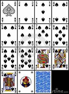 Playing cards - the spades suit